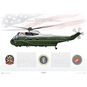 "VH-3D Sea King, HMX-1 ""Nighthawks"" - MARINE ONE, MCAF Quantico, VA - Squadron Lithograph"