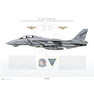 F-14D Tomcat VF-2 Bounty Hunters, NE105 / 163418. CVW-2, USS Constellation CV-64 - Last Tomcat Cruise, 2003 Squadron Lithograph