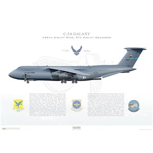 C-5A Galaxy 512th Airlift Wing, 436th Airlift Wing, 9th Airlift Squadron, 70-0027 - Dover AFB,DE Squadron Lithograph