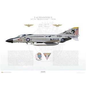 F-4JPhantom II VF-74 BeDevilers,AJ200 / 153784 CVW-8, USS Nimitz CVN-68, 1976 Squadron Lithograph