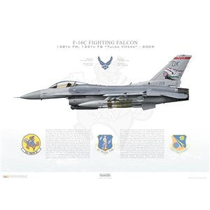 """F-16CFighting Falcon, 138th Fighter Wing, 125thFighter Squadron """"Tulsa Vipers"""", OK/89-2019 - Tulsa ANGB,OK - 2009 Squadron Lithograph"""
