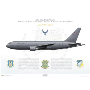 KC-46A Pegasus 916th Air Refueling Wing, 77th Air Refueling Squadron, 15-46011 - Seymour Johnson AFB, NC Squadron Lithograph