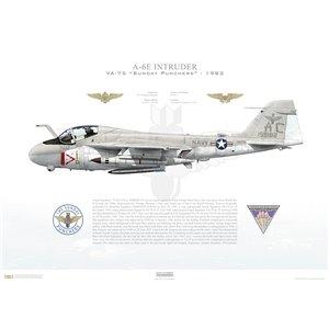 A-6E Intruder VA-75 Sunday Punchers, AC502 / 159182. CVW-3, USS John F Kennedy CV-67 - 1983 Squadron Lithograph