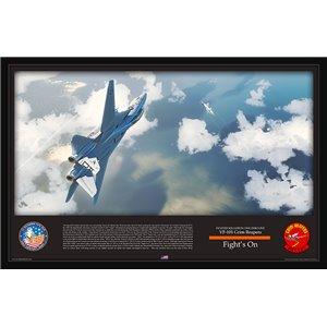 "Fight's On - F-14 Tomcat VF-101 Grim Reapers - Aluminum Print Size: 35 x 23"" / 889 x 578mm"