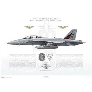 F/A-18F Super Hornet VFA-154 Black Knights,NH100 / 169750. CVW-11, USSTheodore Roosevelt CVN-71, 75th Anniversary, 2021 - Squadron Lithograph