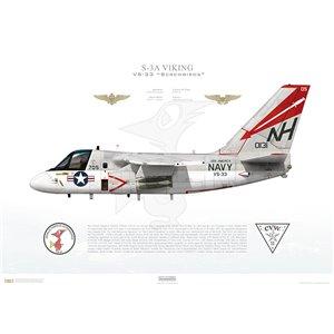 S-3A Viking VS-33 Screwbirds, NH705 / 160131. CVW-11, USS America CV-66 - Squadron Lithograph