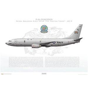 P-8APoseidonPatrol SquadronEight (VP-8) The Fighting Tigers,LC342 / 169342.NAS Jacksonville,FL-2019 Squadron Lithograph