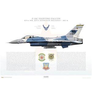F-16C Fighting Falcon 57th Wing, 64th Aggressor Squadron, WA/83-159 - Nellis AFB, NV - 2016 Squadron Lithograph