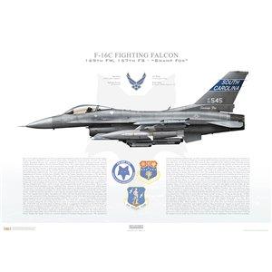 """F-16CFighting Falcon, 169th Fighter Wing, 157thFighter Squadron """"Swamp Fox"""", SC/93-0545 - McEntire JNGB Eastover, SC - 2016 Squadron Lithograph"""