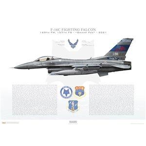 "F-16CFighting Falcon, 169th Fighter Wing, 157thFighter Squadron ""Swamp Fox"" 9/11 First Responders Memorial Scheme, SC/92-3911 - McEntire JNGB Eastover, SC - 2021 Squadron Lithograph"