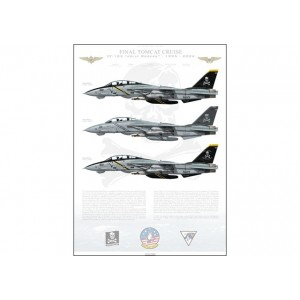 "Final Tomcat Cruise, VF-103 Jolly Rogers - CVW-17, USS John F. Kennedy CV-67, 1995-2004 LIMITED EDITION: Only 25 individually numbered prints are produced! Size: Standard - 24 x 16"" / 594 x 420mm Squadron Lithograph"