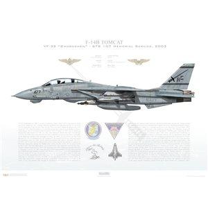 F-14B Tomcat VF-32 Swordsmen, AC107 / 163224 STS 107 Memorial Service. CVW-3, USS Harry S Truman CVN-75, 2005 Squadron Lithograph