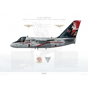 S-3B Viking VS-21 Fighting Redtails, NF700 / 160123. CVW-5, USS Kitty Hawk CV-63 - Last Cruise, 2004 Squadron Lithograph