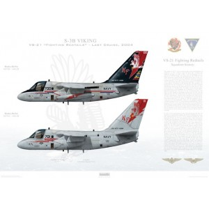 """S-3B Viking VS-21 Fighting Redtails, NF700 / 160123 and NF701 / 160135. CVW-5, USS Kitty Hawk CV-63 - 2004  Size: Standard - 24 x 16"""" / 594 x 420mm Squadron Lithograph"""