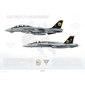 "VF-31 to VFA-31 Tomcatters Transition, 2006-2007 / F-14D Tomcat - F/A-18E Super Hornet Size: Standard - 24 x 16"" / 594 x 420mm Squadron Lithograph"