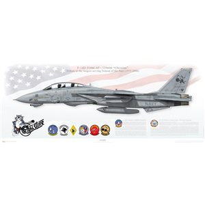 "F-14D Tomcat VF-31 Tomcatters, AJ111 / 159600 ""Christine"" The longest serving Tomcat   Print Size: 40x16"" / 1000x400mm   By purchasing this print you support the efforts of OV-10 Bronco Association and Fort Worth Veteran's Memorial Park to preserve ""Christine"" for the future! Each prints are individually numbered and contain the donor's (your) name!   Squadron Lithograph"