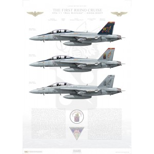 "The First Rhino Cruise, VFA-11 Red Rippers, 2006-2007 LIMITED EDITION: Only 25 individually numbered prints are produced! Size: Standard - 24 x 16"" / 594 x 420mm Squadron Lithograph"