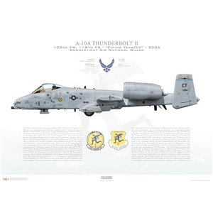 A-10A Thunderbolt II 103rd FW, 118th FS Flying Yankees, CT/79-084. Connecticut Air National Guard (ANG) - 2006 Squadron Lithograph