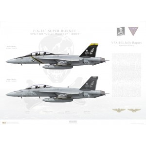 "F/A-18F Super Hornet VFA-103 Jolly Rogers, AG200 / 166620 and AG201 / 166621. CVW-7, USS Dwight D Eisenhower CVN-69 - 2007   Size: Standard - 24 x 16"" / 594 x 420mm Squadron Lithograph"