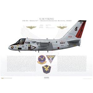 S-3B Viking VS-24 Scouts, AJ700 / 159732. CVW-8, USS Theodore Roosevelt CVN-71 - Decommissioning Scheme, 2007 Squadron Lithograph