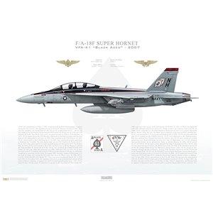 F/A-18F Super Hornet VFA-41 Black Aces, NH100 / 166455. CVW-11, USS Nimitz CVN-68, 2007 Squadron Lithograph