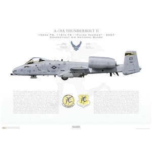 A-10A Thunderbolt II 103rd FW, 118th FS Flying Yankees, CT/78-613. Connecticut Air National Guard (ANG) - 2007 Squadron Lithograph