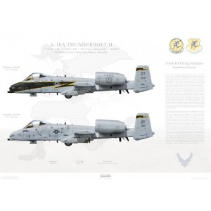 "A-10A Thunderbolt II 103rd FW, 118th FS Flying Yankees CT 78-621 & CT 78-613. Connecticut Air National Guard (CT ANG)- 2007   Size: Standard - 24 x 16"" / 594 x 420mm Squadron Lithograph"