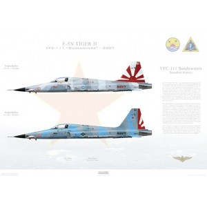 """F-5N Tiger II VFC-111 Sundowners, AF101 / 761548 and AF102 / 761537. TSW-20 - 2007  Size: Standard - 24 x 16"""" / 594 x 420mm Squadron Lithograph"""