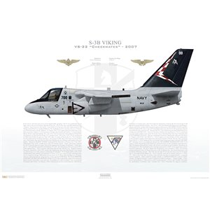 S-3B Viking VS-22 Checkmates, AA700 / 160161. CVW-17, 2007 Squadron Lithograph