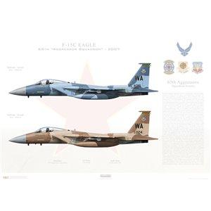 """F-15C Eagle 57th Wg, 65th Aggressor Squadron WA 080010 & WA 80-024. Nellis AFB, NV - 2007  Size: Standard - 24 x 16"""" / 594 x 420mm Squadron Lithograph"""