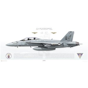 F/A-18F Super Hornet VFA-11 Red Rippers, AC102 / 166624. CVW-3, 2006 Squadron Lithograph