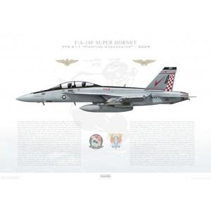 F/A-18F Super Hornet VFA-211 Fighting Checkmates, AB200 / 166805. CVW-1, USS Enterprise CVN-65, 2009 Squadron Lithograph