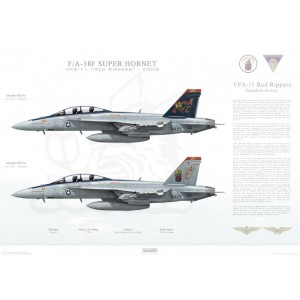 "F/A-18F Super Hornet VFA-11 Red Rippers, AC100 / 166632 and AC101 / 166634. CVW-3, 2006   Size: Standard - 24 x 16"" / 594 x 420mm Squadron Lithograph"
