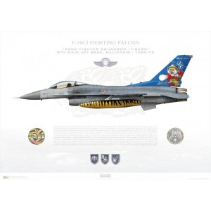 "F-16CJ Fighting Falcon 93-0680, 192nd Fighter Squadron / 192 Filo ""Tigers"", Balikesir AFB - Tiger Meet 2007 - Orland, Norway Squadron Lithograph"
