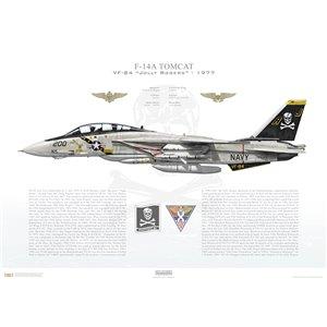 F-14A Tomcat VF-84 Jolly Rogers, AJ200 / 160393. CVW-8, USS Nimitz CVN-68 - 1977 Squadron Lithograph