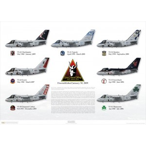 "Size: 24x16"" / 609x406mm - S-3B Viking, VS-22 Checkmates, AA700 / 160161- S-3B Viking, VS-24 Scouts, AJ700 / 159732- S-3B Viking, VS-30 Diamond Cutters, AA700 / 159390- S-3B Viking, VS-31 Topcats, NG700 / 160142- S-3B Viking, VS-32 Maulers, AB700 / 160164- S-3B Viking, VS-33 Screwbirds, NG701 / 160121- S-3B Viking, VS-41 Shamrocks, NJ741 / 160136 Squadron Lithograph"