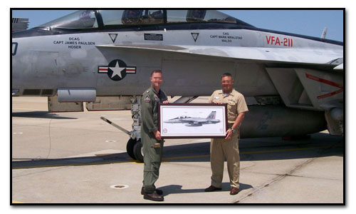 CDR Bob Geis, CO of VFA-211 Fighting Checkmates with his Command Master Chief